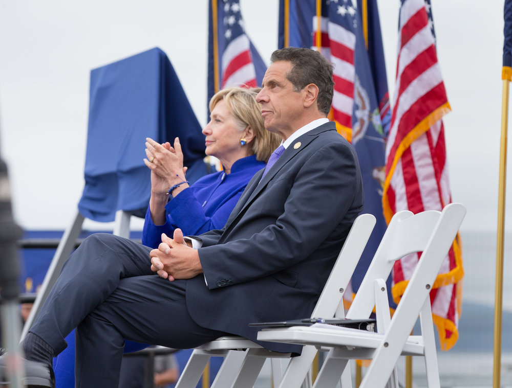 Gov. Andrew Cuomo sits with former Sen. Hillary Clinton at an event last week.//Photo by Philip Kamrass, Office of Gov. Cuomo.