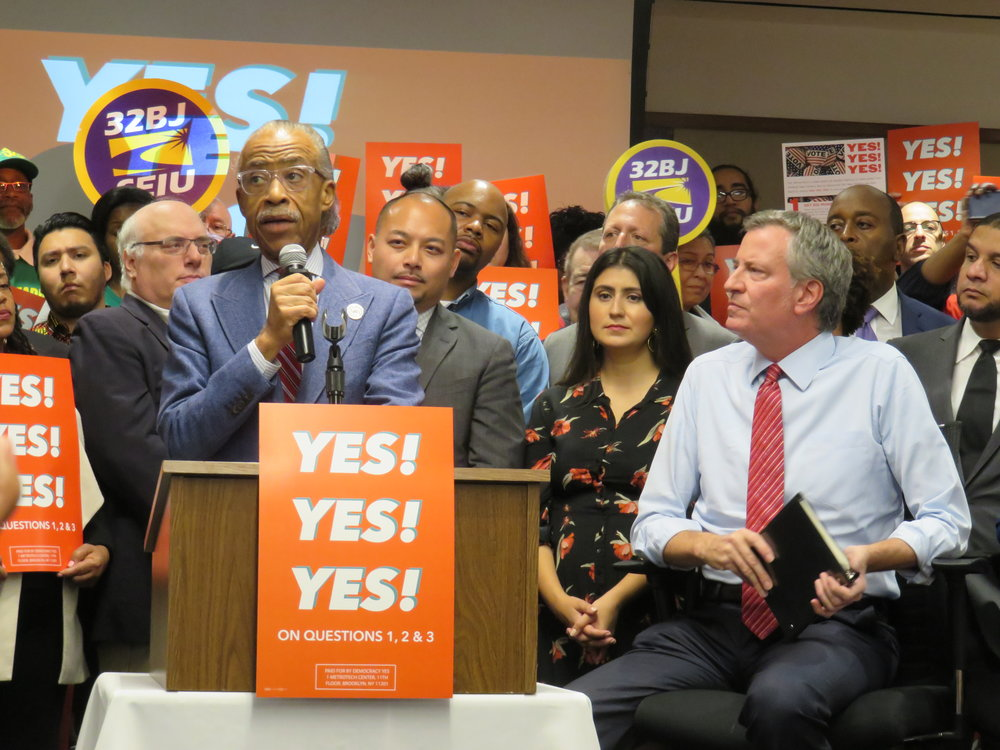 "Rev. Al Sharpton called the ballot proposals a ""voting rights"" issue. //  Eagle  photos by David Brand"