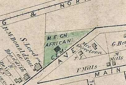 An 1859 portion of a map of Newtown displays the presence of the African Cemetery and a chapel building. Photo courtesy of HDC.