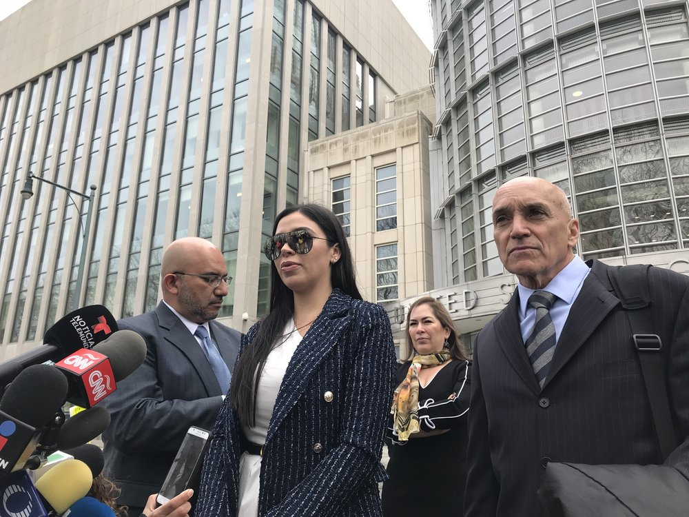 "The wife of Joaquin ""El Chapo"" Guzman, Emma Coronel Aispuro, has not attended his last two court appearances, but has been attendance at most of his previous court dates. He will often wave to her and stare at her during pretrial conferences.  Eagle  file photo by Paul Frangipane."