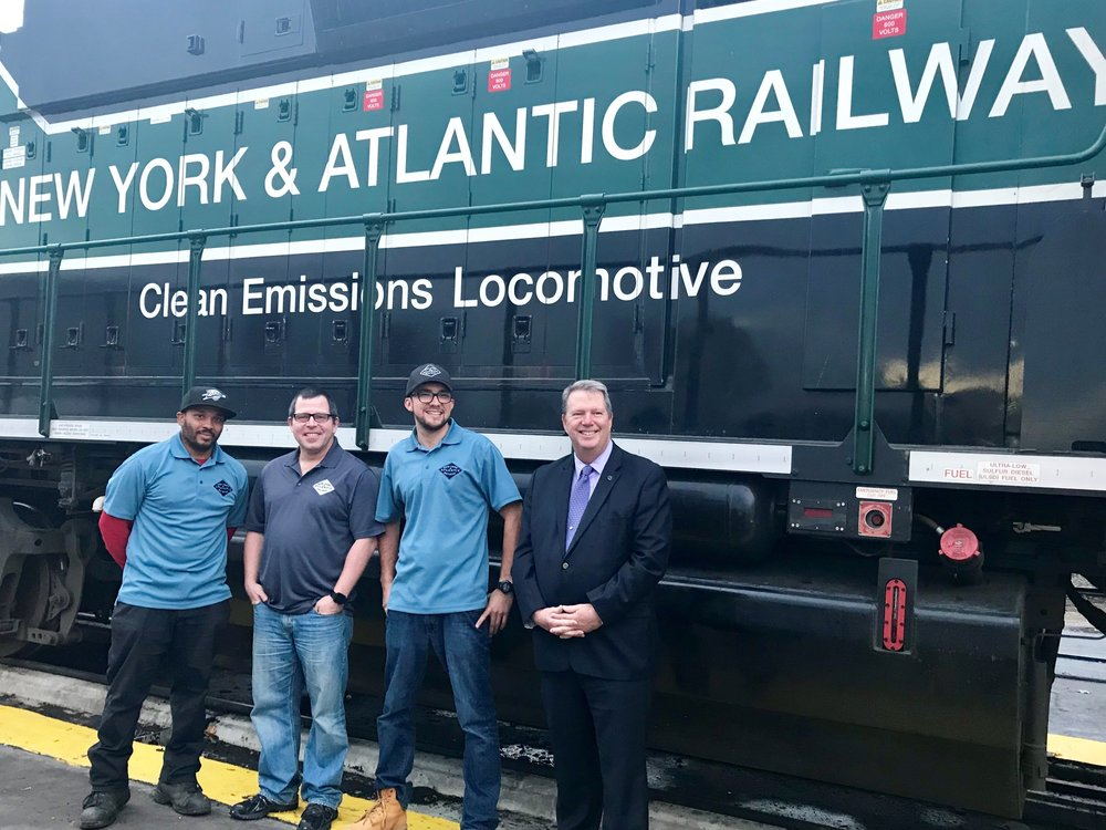 Rommel Primus (left) used his belt as a tourniquet, William Bagley (second to left) stopped the train, Connor Ray (second from right) moved woman off of tracks and Christopher Smith (right) executive director of the Alzheimer's Association, New York City Chapter. Photo courtesy of Alzheimer's Association.