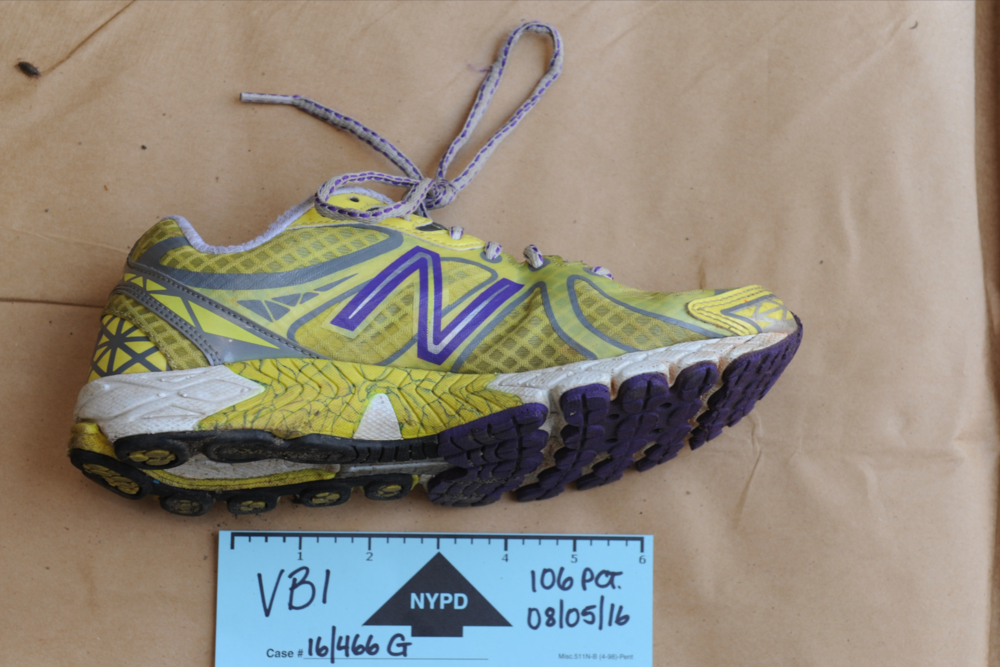 Karina Vetrano's sneaker was recovered several feet from her body in Spring Creek Park. // Trial exhibits courtesy of the Queens DA's office