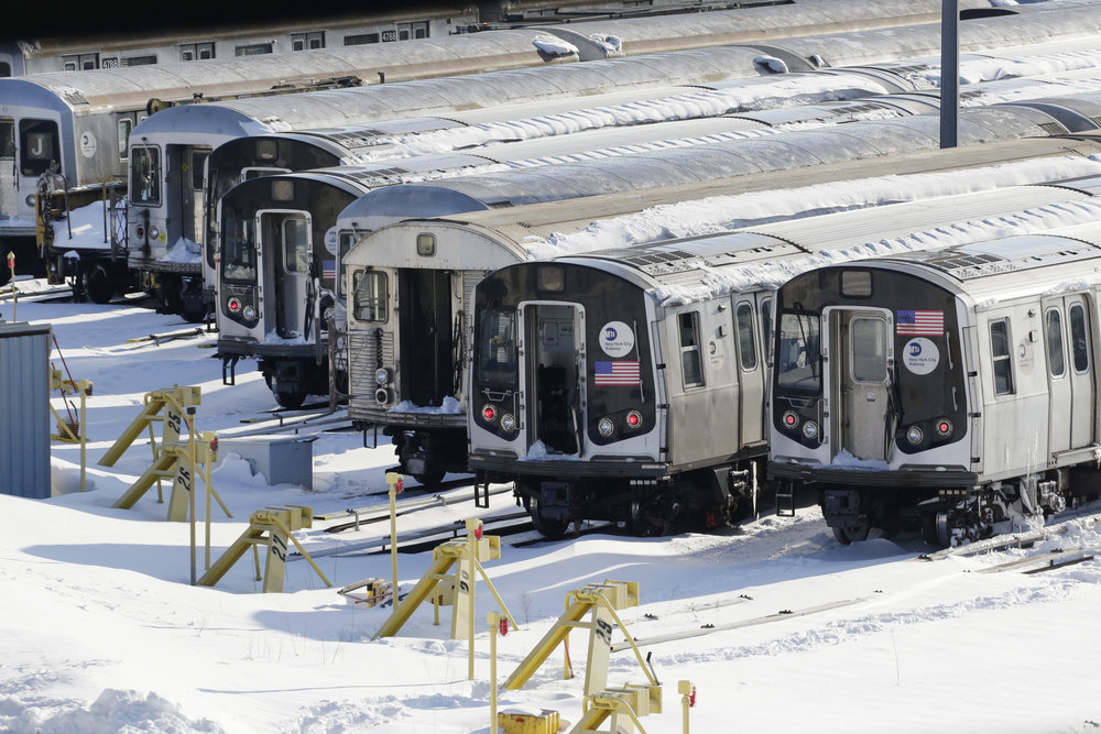 Out-of-service subway trains are stored at the Broadway Junction yard in the Brooklyn. The transit hub serves the A, C, J, L and Z subway lines. AP Photo by Mark Lennihan.