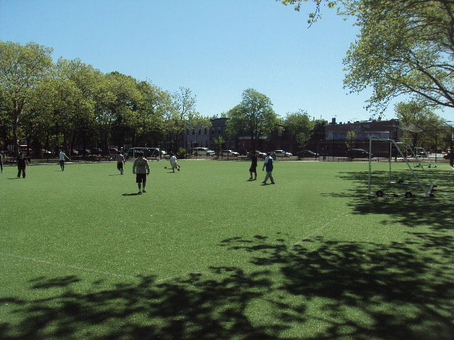 The soccer field at Grover Cleveland Playground in Queens will get a new synthetic turf surface. Photo by NYC Parks.