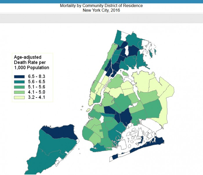 Death rate by community district. Map courtesy of NYC.