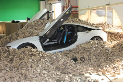YouTube stuntman Roman Atwood created a prank video where he drives a fast car into a pile of 66,000 toilet paper tubes — the amount Americans throw away every two minutes — to raise awareness for Scott's tube-free toilet paper. Photo courtesy of EarthTalk.