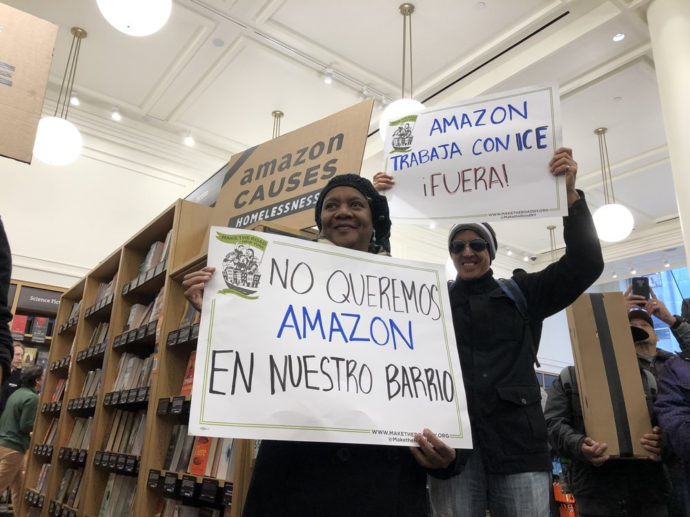 Protesters stormed Amazon's midtown bookstore. Photo courtesy of Make The Road NY.