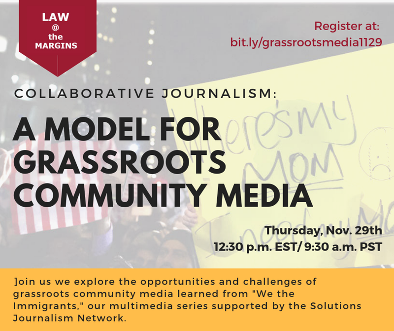 Event flyer for the Grassroots Community Media webinar, which will feature the  Queens Daily Eagle . Image via Law@theMargins