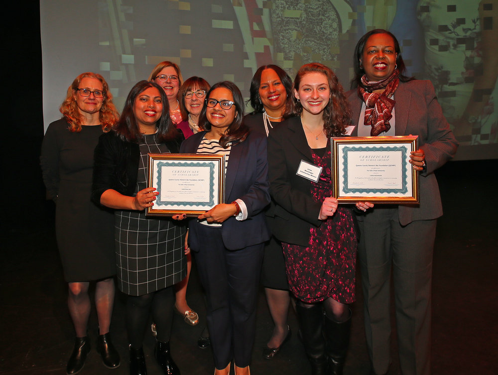 From left, Lisa Mevorach, Soma Syed, Louise Derevlany, Judge Bernice Siegal, Christina Das, QCWBA President Adrienne Williams, Liran Messinger and Judge Marguerite Grays.