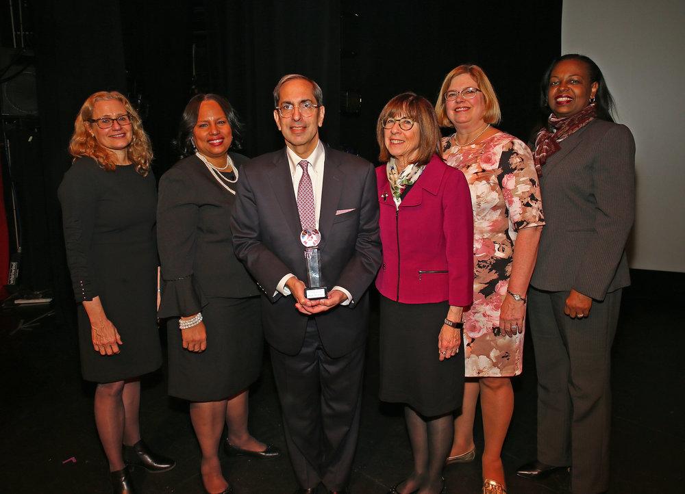 From left, Lisa Mevorach, QWCBA President Adrienne Williams, Judge Paul G. Feinman, Judge Bernice Siegal, Louise Derevlany and Judge Marguerite Grays.