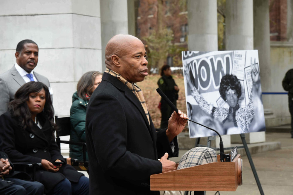 Borough President Eric Adams speaks about the legacy of Shirley Chisholm at Prospect Park.  Eagle  photos by Todd Maisel.