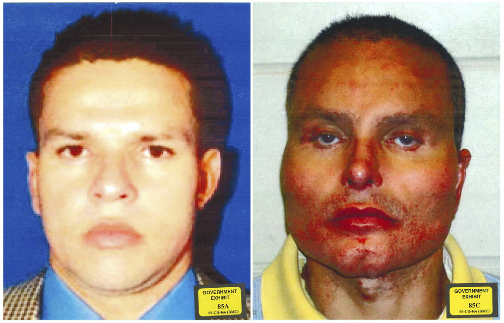 "Two photos provided by the U.S. Attorney's Office for the Southern District of New York show former Colombian drug lord Juan Carlos Ramirez Abadia, the latest star witness for the government in the trial against accused drug lord Joaquin ""El Chapo"" Guzman (U.S. Attorney's Office for the Southern District of New York via AP)."