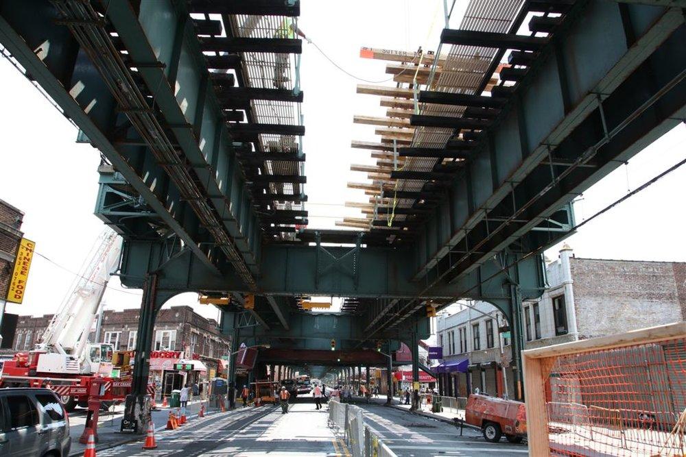 A train trestle along Sutter Avenue on the 3 line. Photo via the MTA.