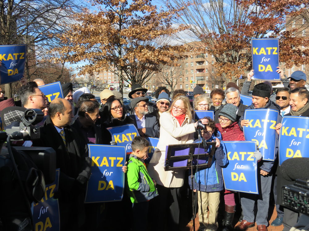 Borough President Melinda Katz is running for Queens County District Attorney on a progressive platform, but criminal justice reformers question her 1995 vote to reinstate the death penalty.  Eagle  photo by David Brand