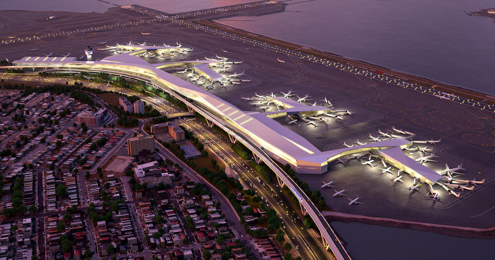 Rendering of LaGuardia Airport, where an employee allegedly used a cellphone to film a woman in the bathroom. Photo via Port Authority.