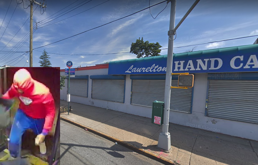 A bus stop on Merrick Boulevard near 220th Street, where a bus driver was punched in the face by a passenger. Background photo via Google Maps, inset photo of the suspect courtesy of the NYPD.