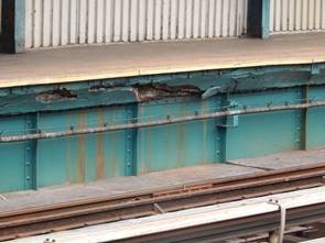 Platform girder deterioration at 111th Street. Photos courtesy of the MTA.