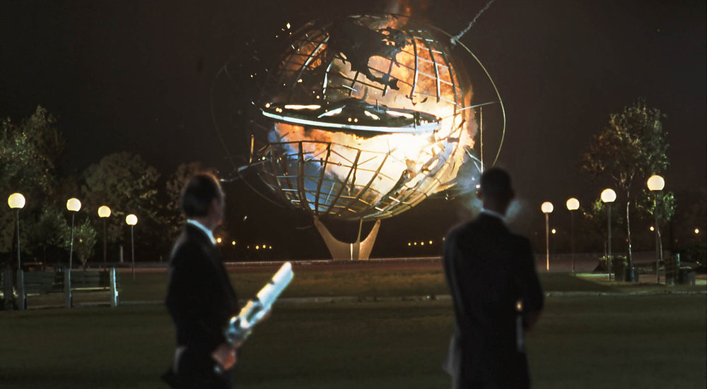 The climax of Men In Black takes place in Flushing Meadows Corona Park. Photo via Columbia Pictures.