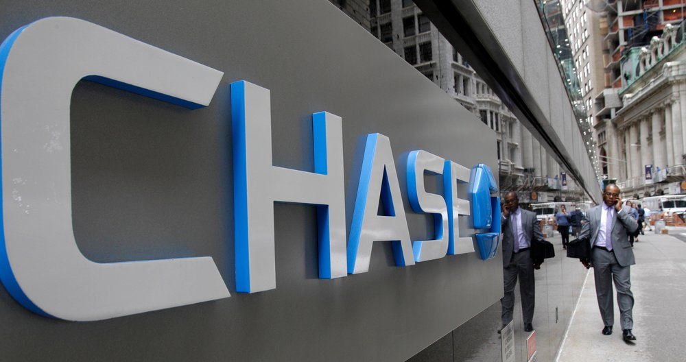 A J.P. Morgan Chase logo at the base of one of the bank's large Lower Manhattan buildings in New York. Joshua Stephens-Anselm began stealing from a two women's account while employed at a J.P. Morgan Chase branch. AP Photo/Kathy Willens, File