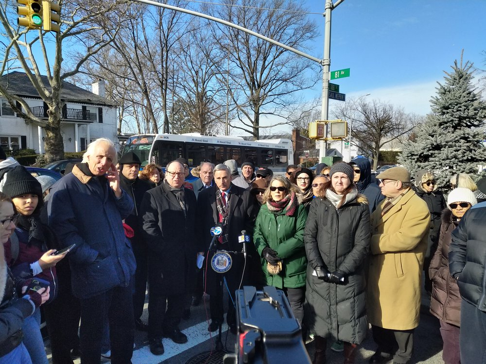 Assembly Members David I. Weprin and Nily Rozic, Council Members Barry S. Grodenchik and Costa Constantinides, and residents speak about the stray voltage issue on 188th Street.