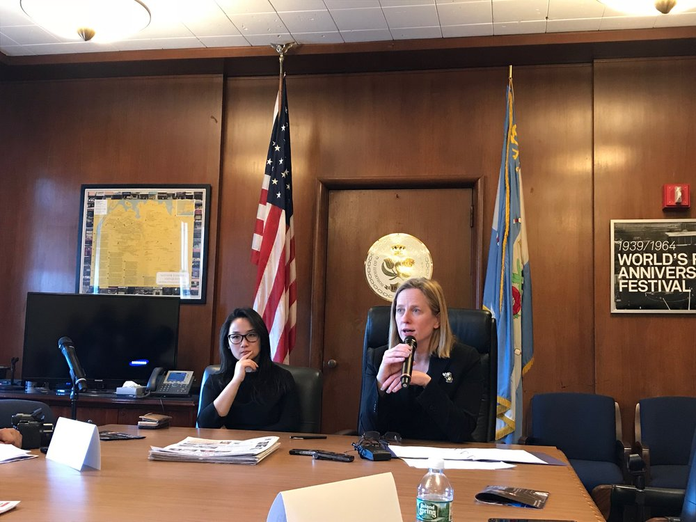 Borough President Melinda Katz (right) and Deputy Borough President Sharon Lee spoke with members of the Queens media Tuesday afternoon in Borough Hall.  Eagle  photo by David Brand.