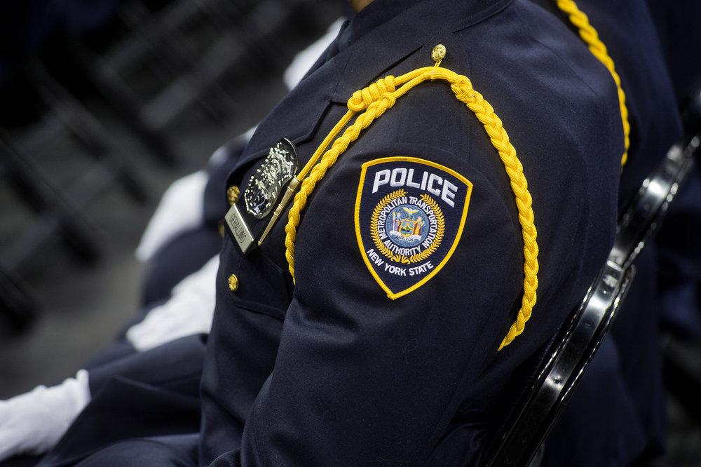 An MTA police officer at a graduation ceremony. Photo via the MTA/Patrick Cashin.