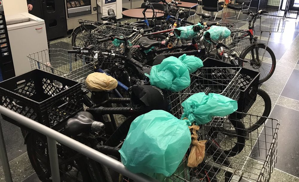 The 24th Precinct shared a photo of e-bikes they commandeered on the Upper West Side. Twitter photo via 24th Precinct