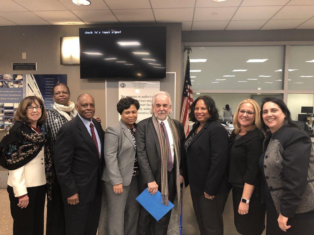 From left: Hon. Bernice Siegal, board member of the Queens County Womens Bar Association (QCWBA) and Brandeis Association; Hon. Marguerite Grays, chair of the QCWBA; Hon. Howard Lane, chair of the Macon B. Allen Association; Jawan Finley, Esq., president of the Macon B. Allen Association; Peter A. Geffen; Adrienne Williams, Esq., president the QCWBA;, Hon. Jodi Orlow, chair of the Brandeis Association; and Hon. Mojgan Lancman, president of the Brandeis Association. Photo courtesy of the Brandeis Association