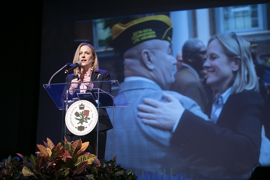 Queens Borough President Melinda Katz at the 2019 State of the Borough Address in Long Island City. Photo courtesy of Borough President Melinda Katz's office.