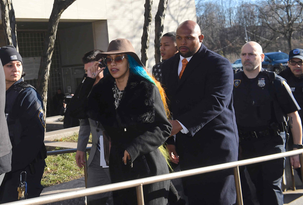 Cardi B leaves Queens Criminal Court in December.  Eagle  photo by Todd Maisel.