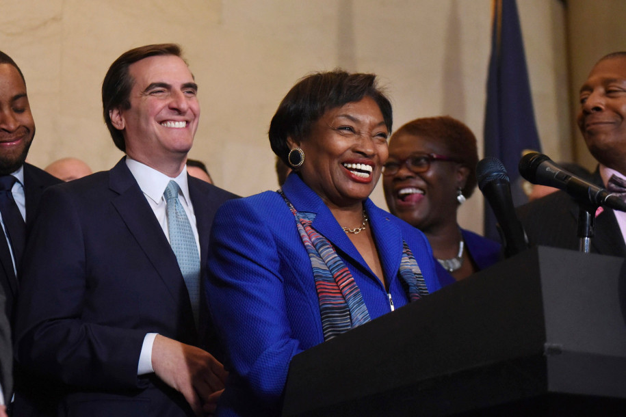 State Sen. Leader Andrea Stewart-Cousins has nominated State Sen. Michael Gianaris to the Public Authorities Control Board, a position that would enable Gianaris to veto the Amazon deal. AP Photo/Hans Pennink