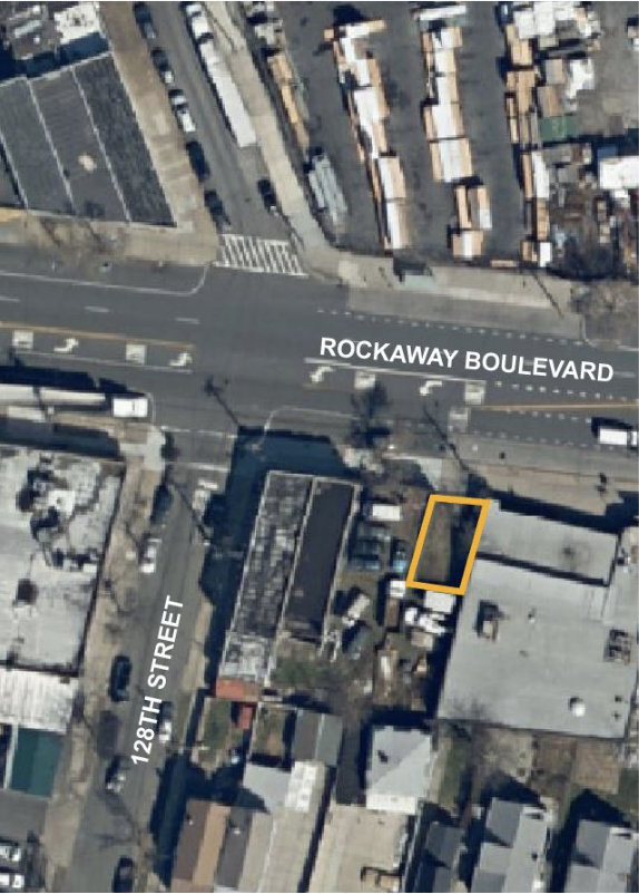 A tiny lot at Rockaway Boulevard near 128th Street. Map courtesy of HPD .
