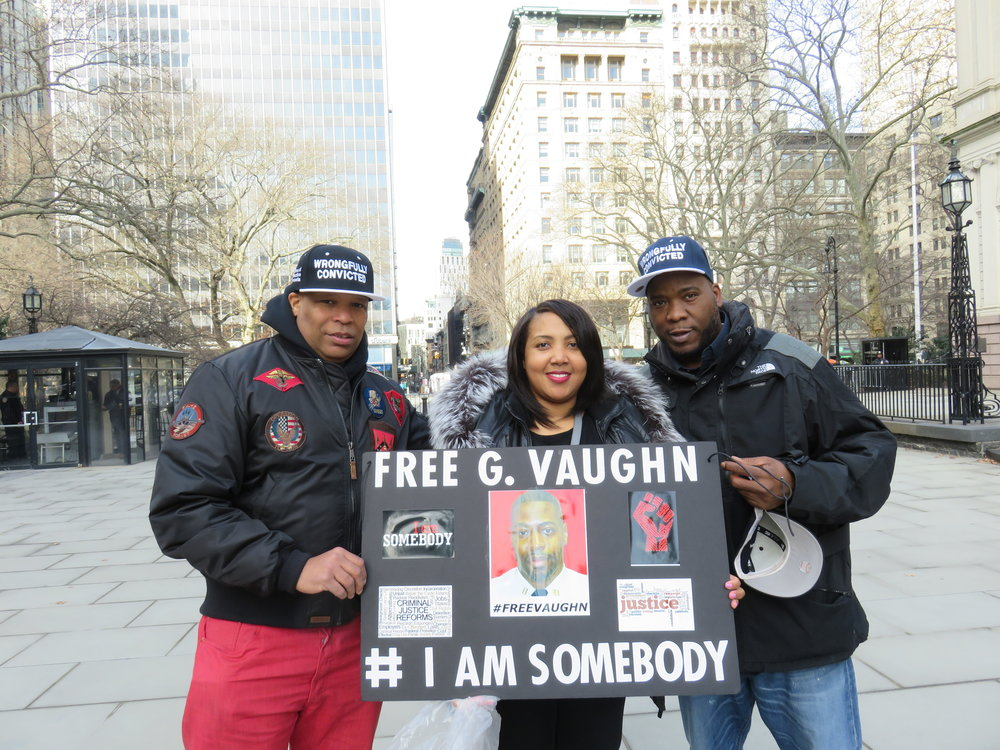 Activists Justice Rivera (left), Nashawn Kirkland (center) and Cleeve Ford advocate for a state conviction review unit. Rivera and Ford are friends of Derrick Hamilton, who was convicted for a murder he did not commit. Kirkland's husband Gerald Vaughn, a former correction officer, was convicted for his role in an assault at Rikers Island. Eagle   photo by David Brand