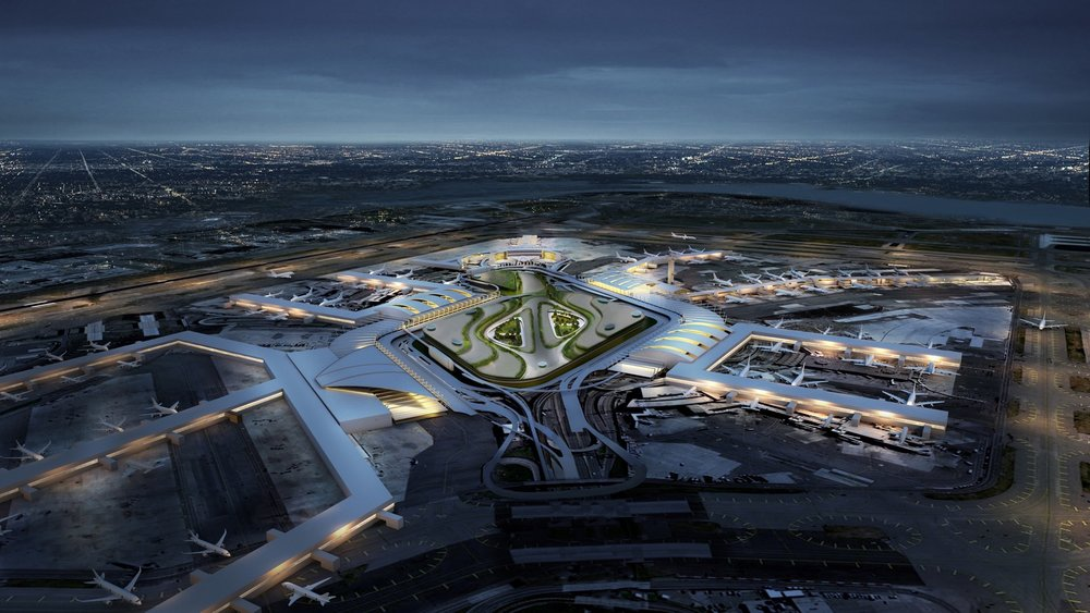 An investment by American Airlines and British Airways is part of a $13 billion plan to overhaul Kennedy Airport. Rendering courtesy of Port Authority of New York and New Jersey.
