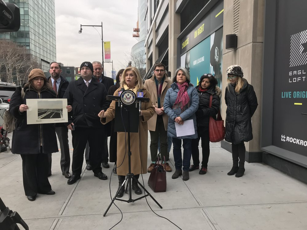 U.S. Rep. Carolyn B. Maloney stands with community leaders and residents in Long Island City to call on the state to fund a proposed train station in Sunnyside Yards. Photo courtesy of U.S. Rep. Carolyn B. Maloney's office.