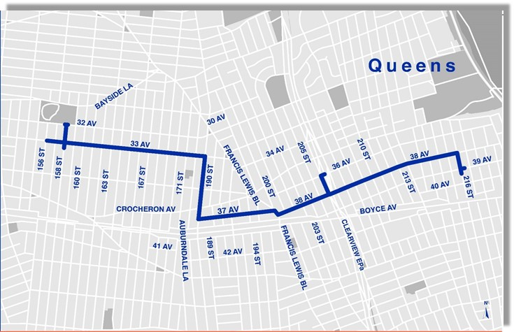 A map of the Bayside water main replacement project. Image via DDC.