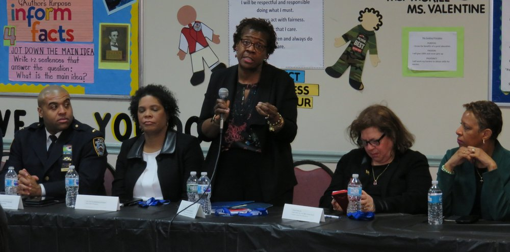 Judge Edwina Mendelson, the Deputy Chief Administrative Judge for Justice Initiatives, speaks at a Raise the Age forum Monday night in Jamaica.  Eagle  photo by David Brand