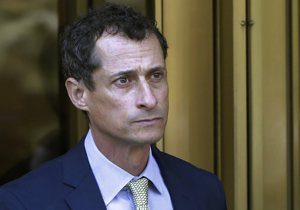 Former U.S. Rep. Anthony Weiner was released from prison and now resides in a halfway house. AP Photo/Mark Lennihan, File.