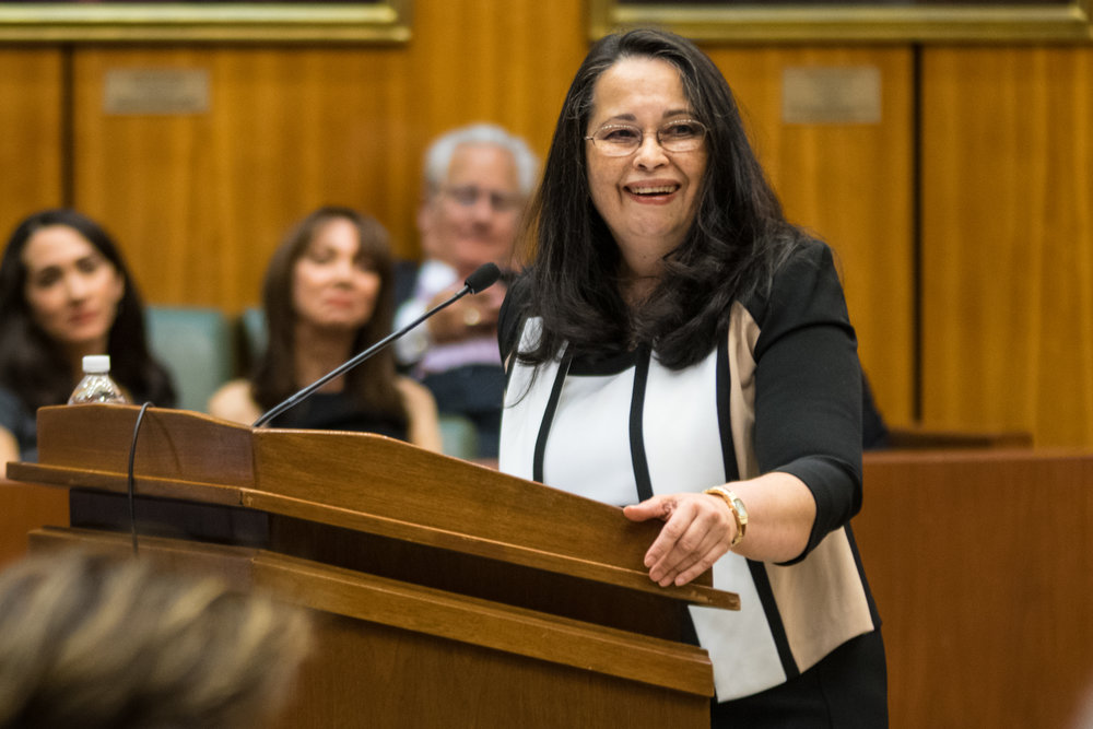 Hon. Dora Irizarry, chief judge of the U.S. District Court for the Eastern District of New York, will be in Central Islip on Thursday afternoon as Hofstra Law opens its new pro se legal clinic. The clinic will be the only one of its kind run by a law school in New York out of a federal court.  Eagle  file photo by Rob Abruzzese.