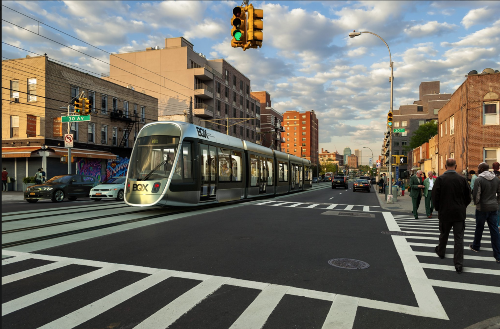 The BQX glides through Astoria. Rendering courtesy of the Friends of the Brooklyn Queens Connector.