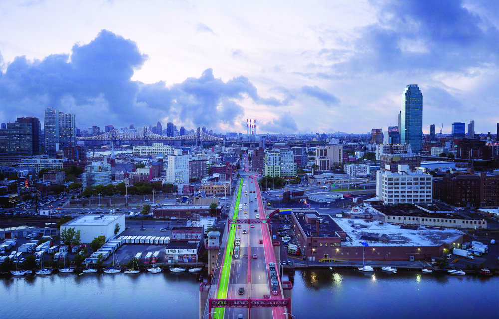 The proposed plan would create BQX tracks on the Pulaski Bridge. Rendering courtesy of the Friends of the Brooklyn Queens Connector.