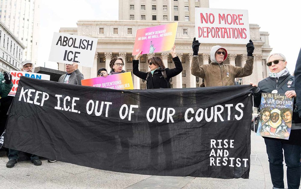 Demonstrators oppose ICE agents entering New York Courts. Sipa via AP Images/Michael Brochstein, File.