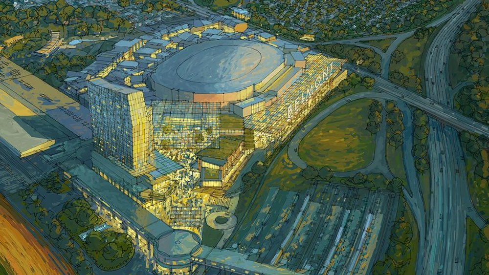 The proposed arena would be located along the Cross Island Parkway and Hempstead Turnpike, steps from the Queens border. Rendering via the New York Islanders.