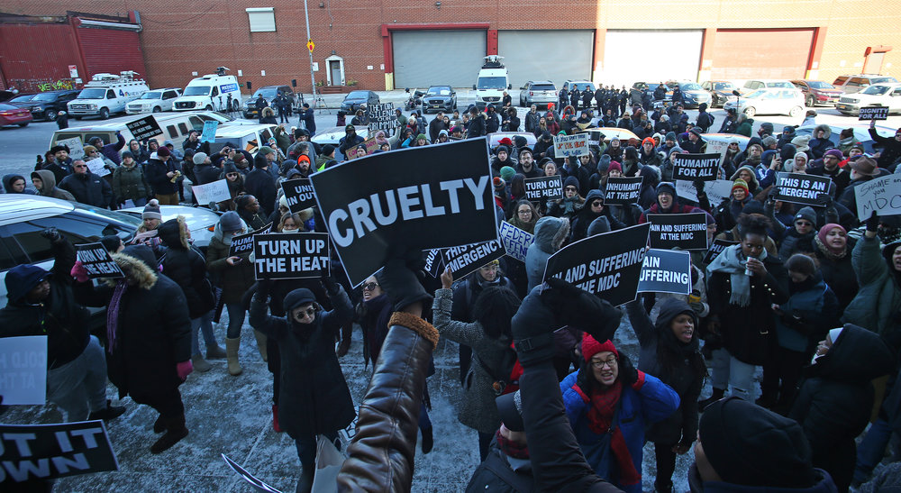 Activists protest heat and electricity outages at the Metropolitan Detention Center in February. Demonstrators are organizing outside the jail again after new outages were reported. Eagle photo by Andy Katz