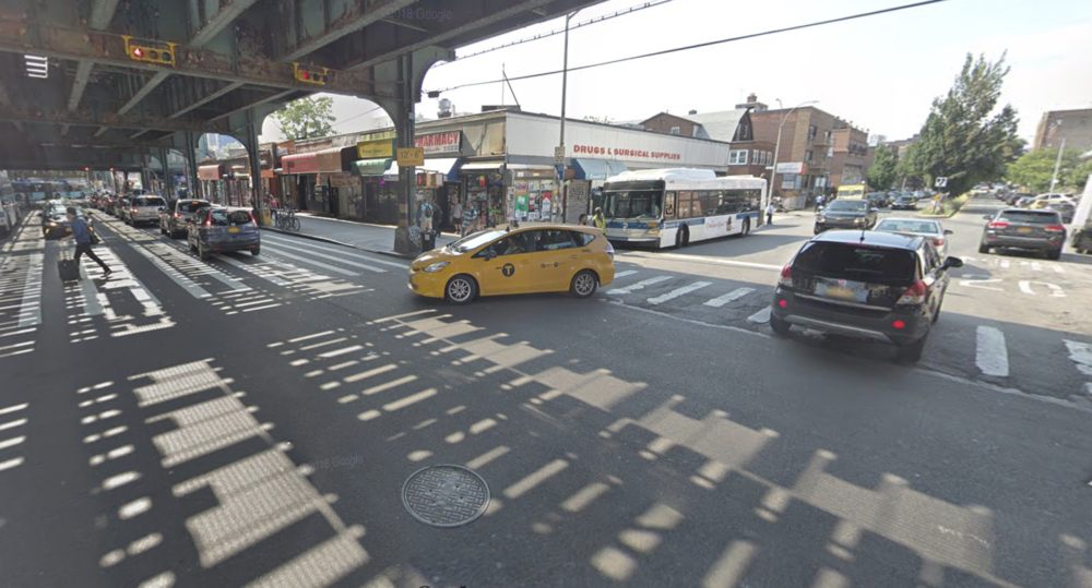 A pedestrian was struck and killed by a Q33 bus at the intersection of Roosevelt Avenue and 75th Street, a particularly dangerous place for pedestrians and cyclists. Photo via Google Maps.