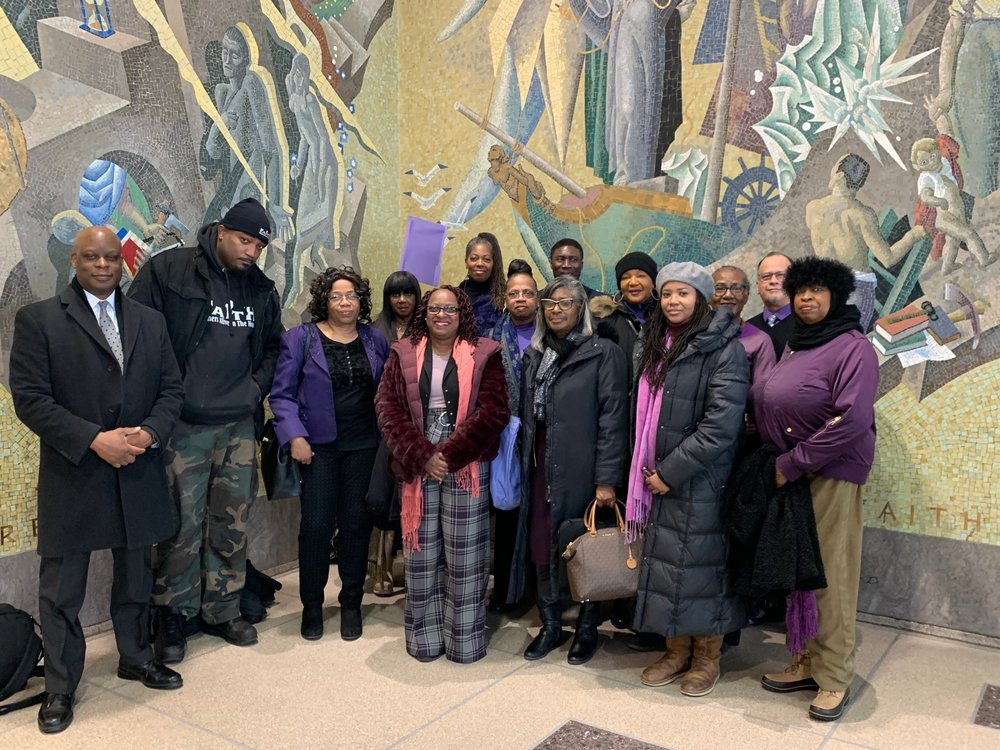 Members of the South East Queens Court Watch Program at the Queens Criminal Courthouse on Feb. 27. Participants will monitor charges, bail requests and defendant and court staff demographics. Photo courtesy of Victoria Brown-Douglas