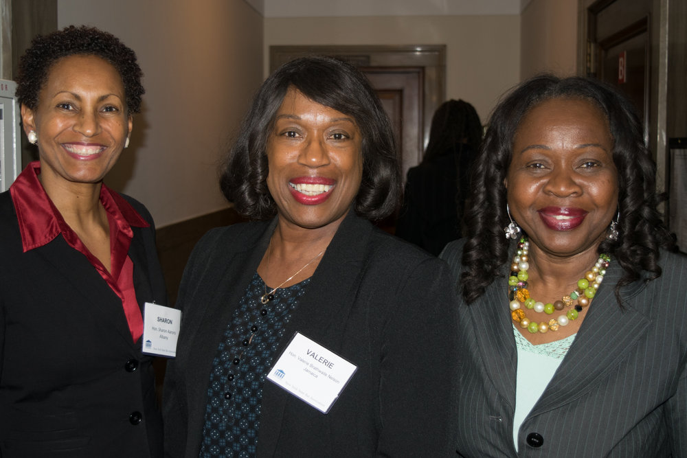 From left: Hon. Sharon Aarons, Hon. Valerie Brathwaite Nelson, and Hon. Sylvia Hinds-Radix.