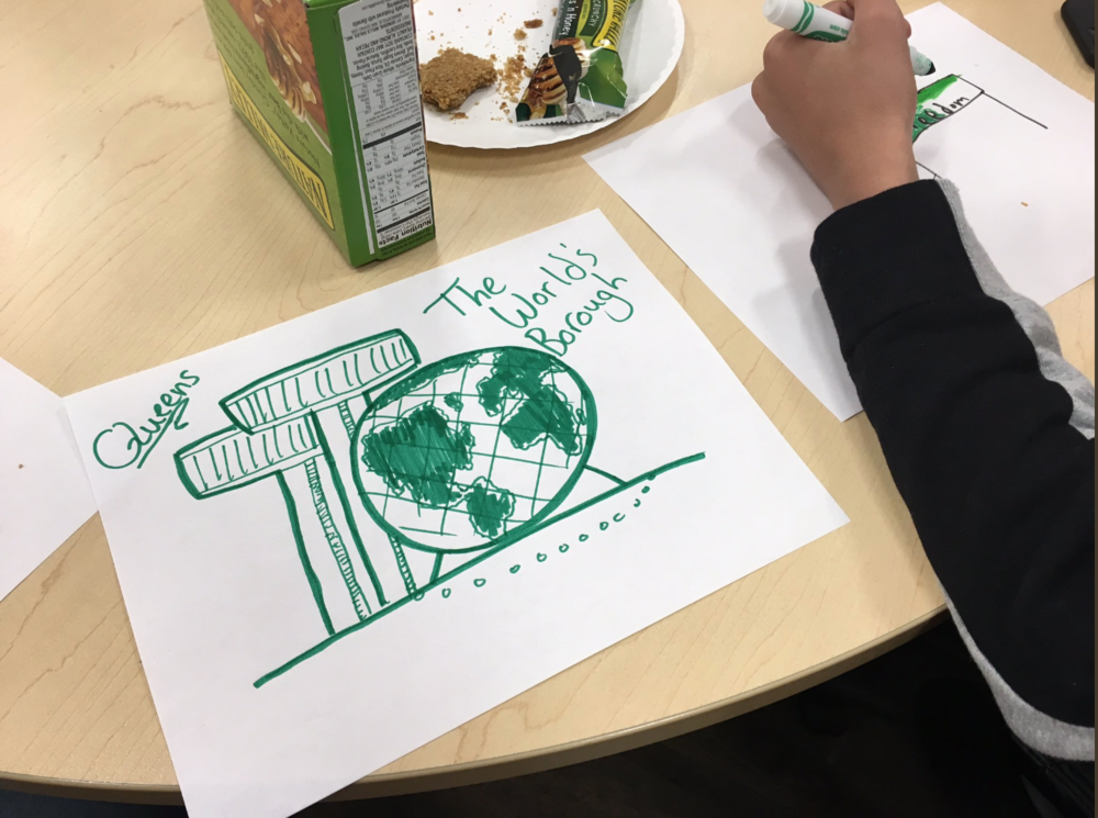 A child illustrates what safety means at a workshop organized by Jews for Racial and Economic Justice on Thursday in Rego Park. Photo courtesy of JFREJ.
