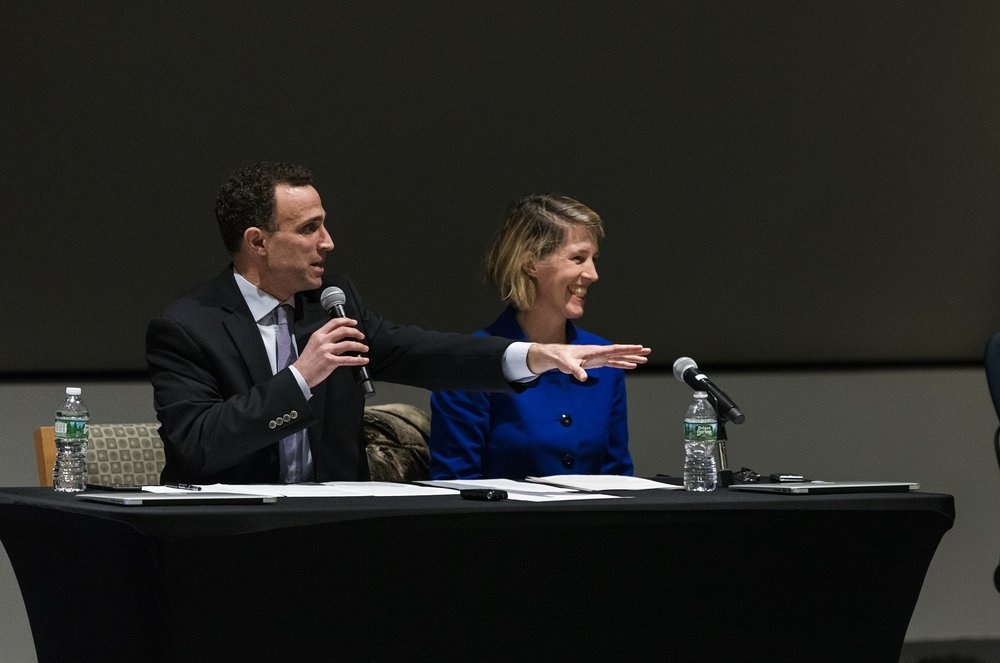 Gotham Gazette Executive Editor Ben Max (left) and law professor Zephyr Teachout, a former candidate for governor, moderated the forum at CUNY Law.  Eagle  photo by Paul Frangipane.