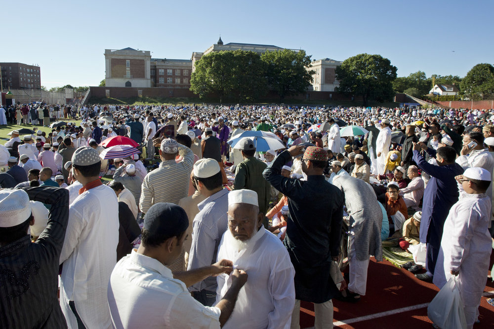 Thousands of Muslims worship in Queens during Eid al-Adha in September 2016. AP Photo/Mark Lennihan